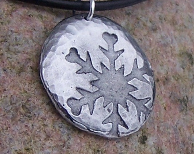 Snowflake Necklace, Falling Snowflake Pendant, Hammered Texture