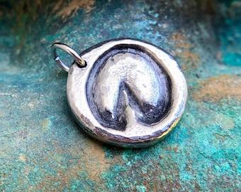 Barefoot Hoofprint Pendant, Bare Hoof Print Charm, Pewter Horse Jewelry