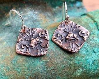 Copper Fleur de lis Detail Earrings, Sterling Silver Earwires
