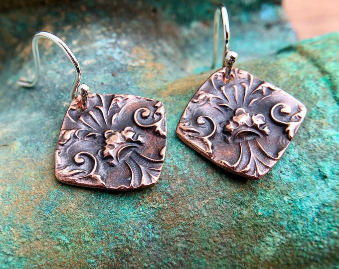 Copper Fleur de lis Detail Earrings, Sterling Silver Earwires