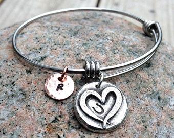 Adjustable Hoof Print on my Heart Bangle Bracelet, Personalized, Mixed Metal