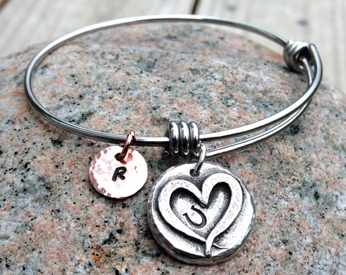 Adjustable Hoof Print on my Heart Bangle Bracelet, Personalized, Mixed Metal