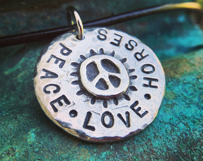Peace Love Horses Necklace, Rustic Jewelry