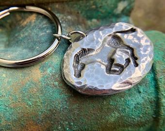Running Horse Key Chain, Mustang Key Ring, Hammered