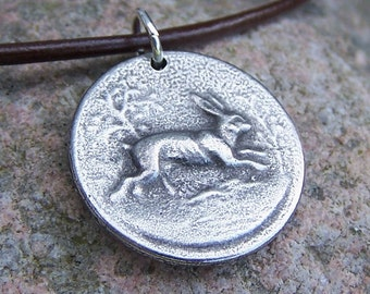 Rabbit Necklace, Running Hare Pendant, Handcast Pewter Pendant