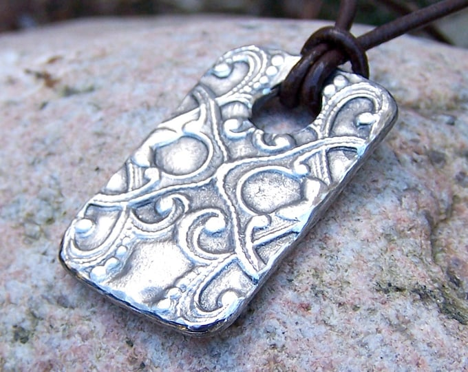 Victorian Pattern Necklace, Large Tag Pendant, Handcast Pewter
