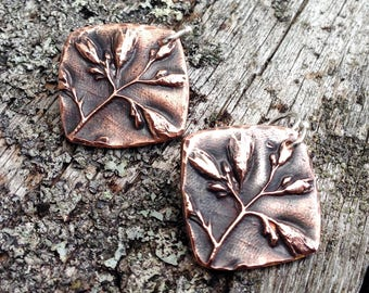 Copper Wildflower Earrings, Sterling Silver Earwires