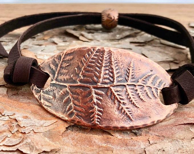 Adjustable Copper Fern Bracelet