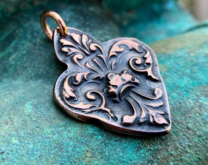 Copper Fleur de Lis Pendant, Focal Pendant