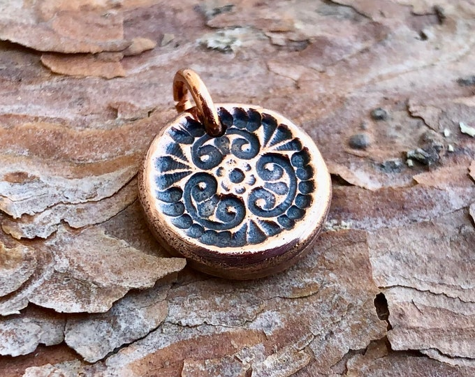 Copper Tiny Garden Pendant, Little Flower Charm, Summer Motif Jewelry