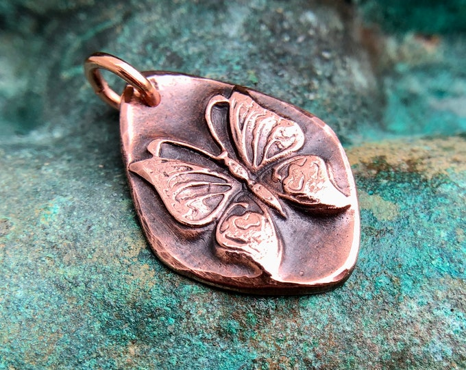 Copper Butterfly Pendant, Gift for Her, Summer Jewelry