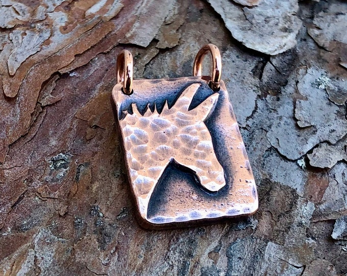 Copper Donkey Pendant, Mini Donkey Jewelry
