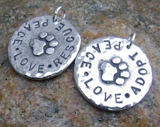 Peace Love Rescue or Peace Love Adopt Pendant, Rustic Pet Lovers Jewelry