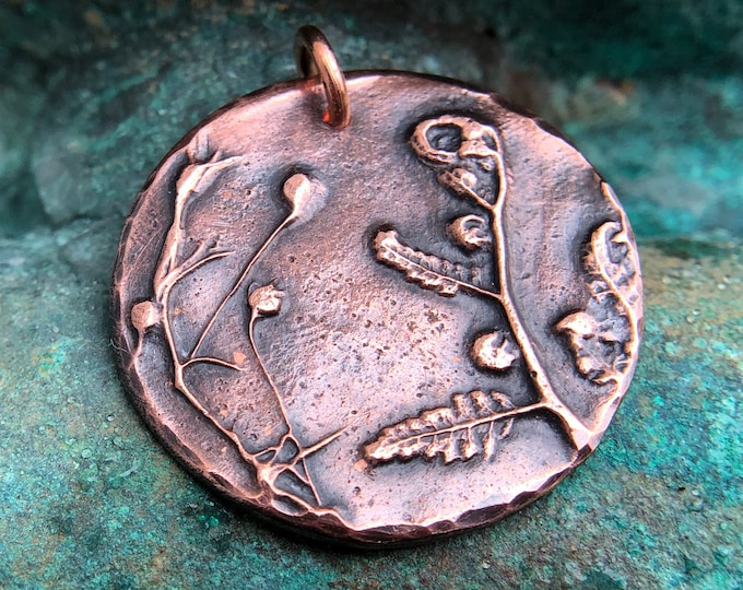 Copper Forest Finds Pendant, Nature, Plant Jewelry