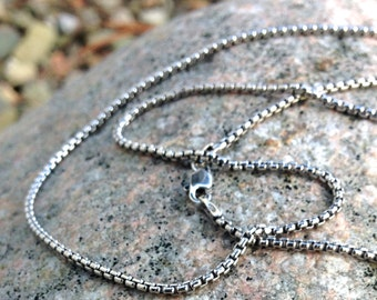Oxidized Sterling Silver Box Chain, 18 inches long, 1.7mm diameter