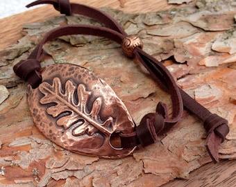 Adjustable Copper and Leather Leaf Bracelet