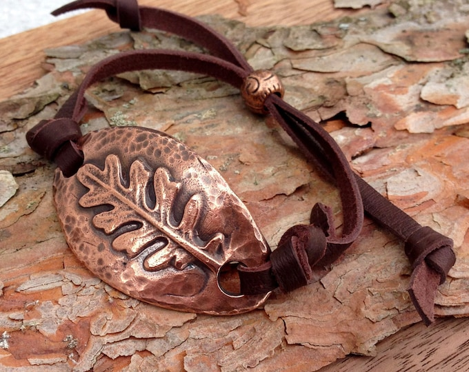 Adjustable Copper and Leather Leaf Bracelet