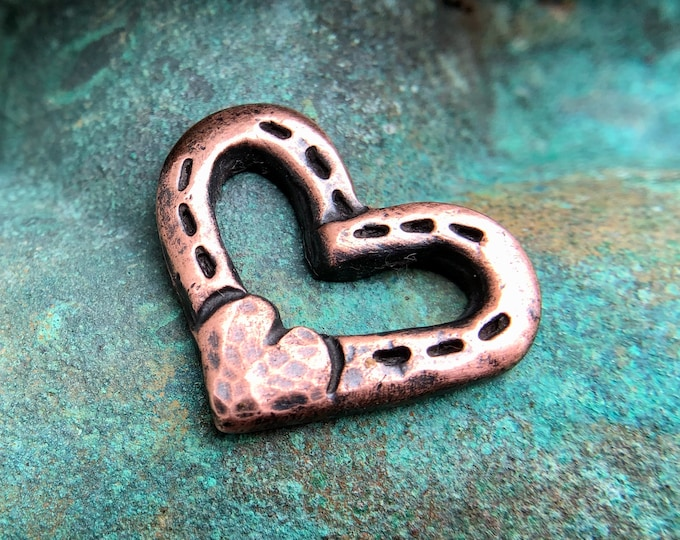 Copper Heart and Horse Shoe Pendant, Rustic Jewelry