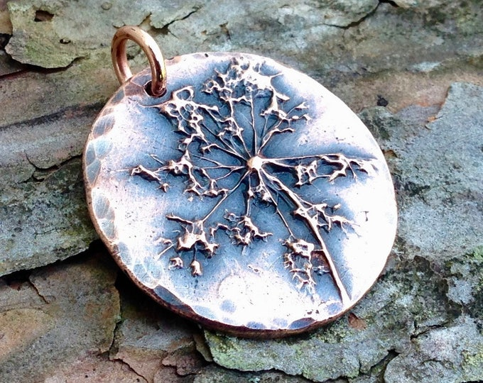 Queen Anne's Lace Flower Copper Charm