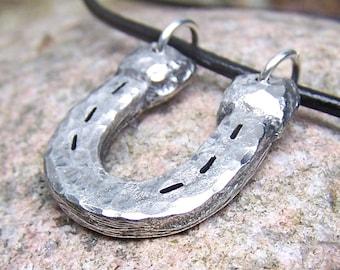 Horse Shoe Necklace 2, Horseshoe Pendant, Rustic Hand Cast Pewter