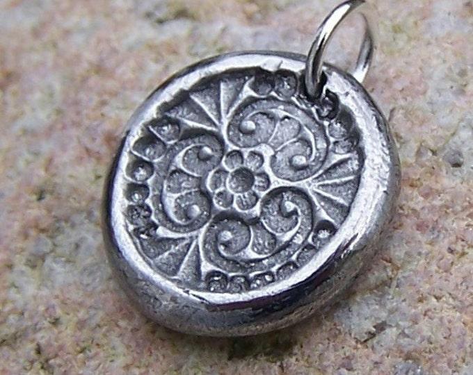 Tiny Flower Garden Pendant, Flower Mandala Charm, Handcast Pewter