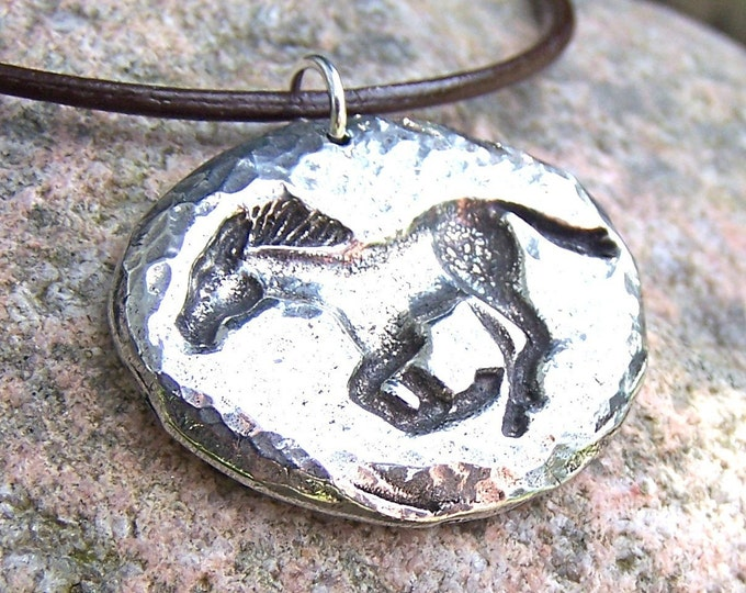 Running Horse Necklace, Mustang Pendant, Rustic Horse Jewelry