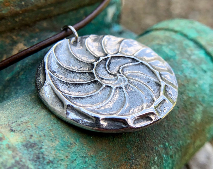 Nautilus Shell Necklace, Natures Spiral Pendant, Fibonacci Jewelry