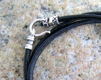 Black or Brown Leather Cord with Silver Plated Hook Clasp, 2mm, Hook and Loop Clasp, Your choice of Length and Color