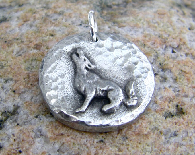Howling Wolf Pendant, Wolf Moon Charm, Rustic Wolf Jewelry