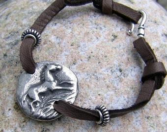 Happy Horse Bracelet, Running Pewter Horse on Soft Leather Lace