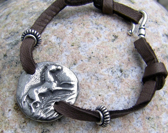 Happy Horse Bracelet, Running Pewter Horse on Soft Leather Lace