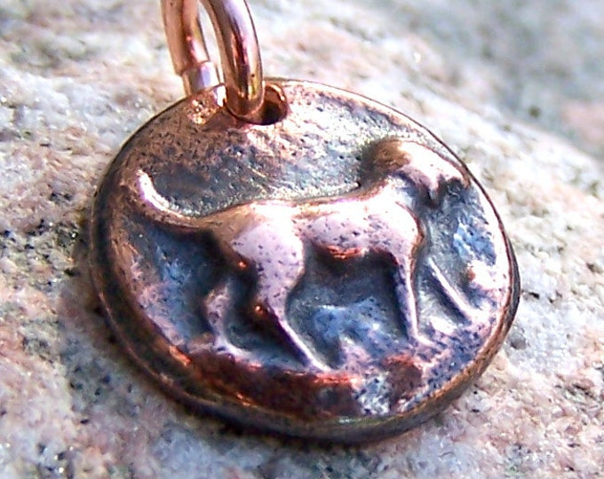 Tiny Copper Dog Pendant or Charm