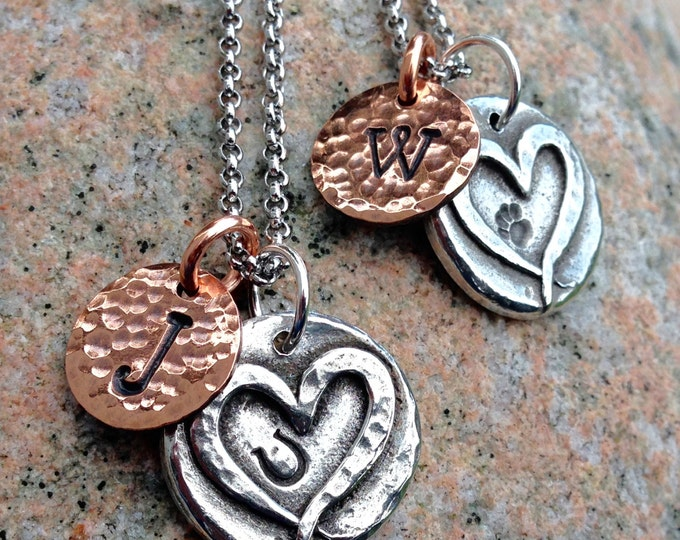 Hoof Print or Paw Print on Heart Necklace, Custom Pet Initail Pendant