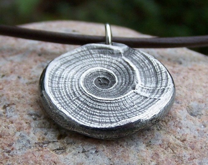 Beach Necklace, Natures Swirl Pendant, Sea Shell Imprint Pendant