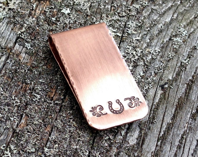 Copper Horseshoe Good Luck Money Clip