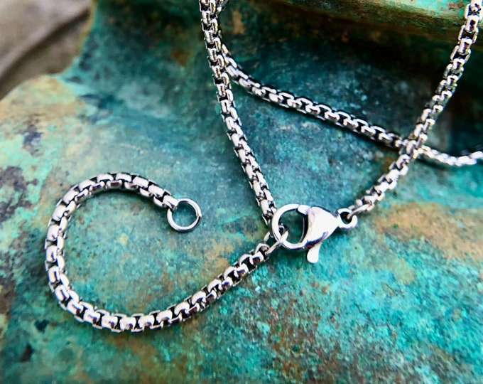 Stainless Steel Rounded Box Chain 2mm, Finished Necklace, Adjustable at 18 inches and 20 inches, 2 inch extender