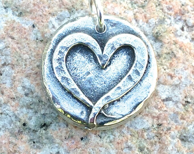 Open Heart Pendant, Ribbon Heart Charm, Love Pendant