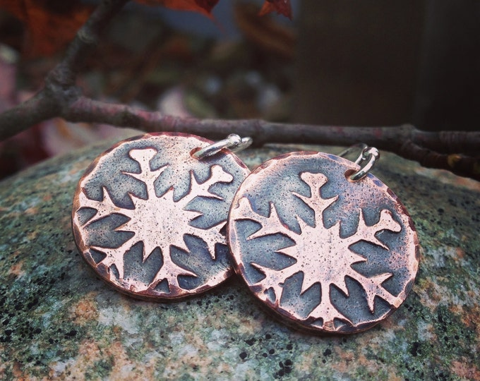 Copper Falling Snowflake Earrings, Sterling Silver Earwires