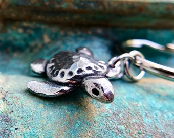 Sea Turtle Keychain, Baby Ridley Turtle Key Ring
