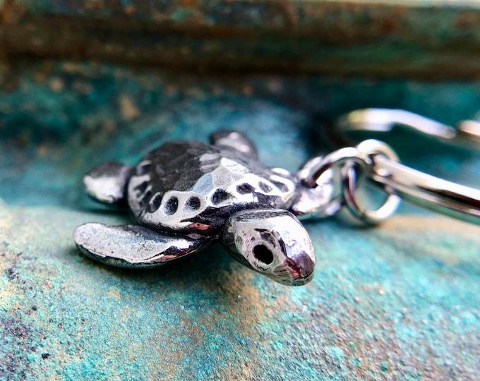 Sea Turtle Keychain, Baby Ridley Turtle Key Ring