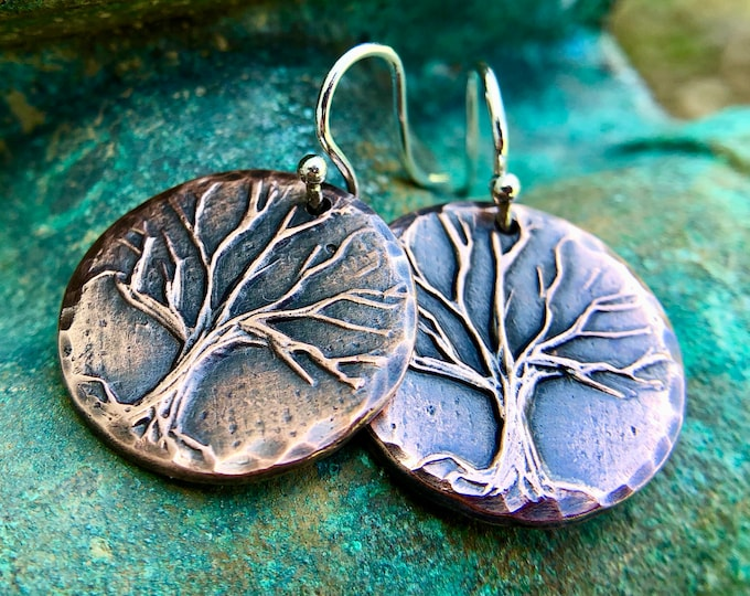 Copper Rustic Tree Earrings on Sterling Silver Earwires