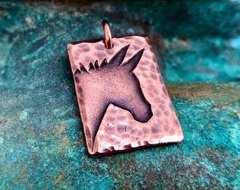 Copper Donkey Pendant, Mini Donkey Jewelry, Mule Silhouette