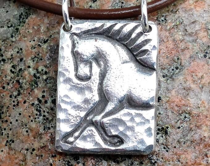 Unbridle Horse Necklace, Prancing Horse Pendant, Dressage Jewelry