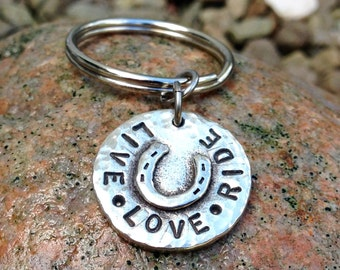 Live Love Ride Key Chain, Rustic Horse Lover Keychain
