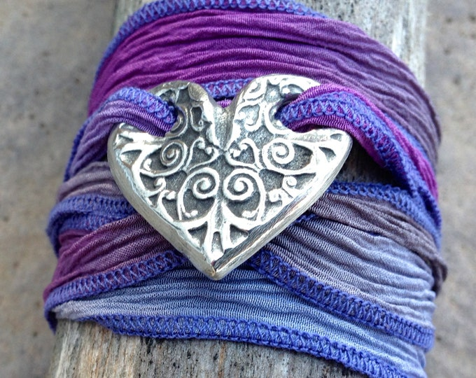 Heart Silk Ribbon Wrap Bracelet, Adjustable BoHo Wrap Bracelet
