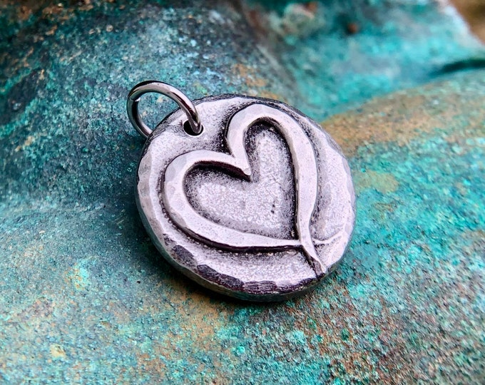 Open Heart Pendant, Ribbon Heart Charm, Love Pendant