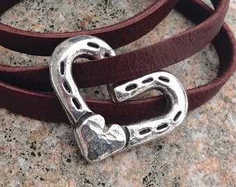 Heart and Horse Shoes Chocolate Leather Wrap Bracelet, Adjustable