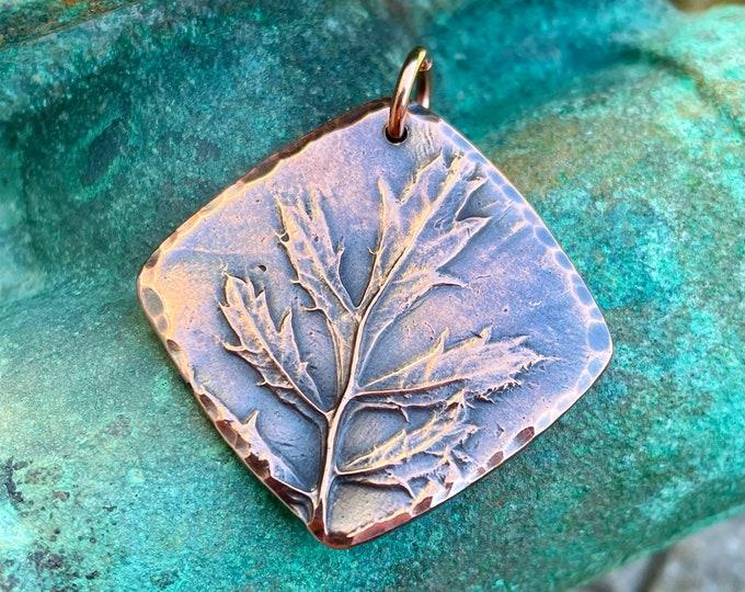 Copper Raised Leaf Pendant, Rustic Focal
