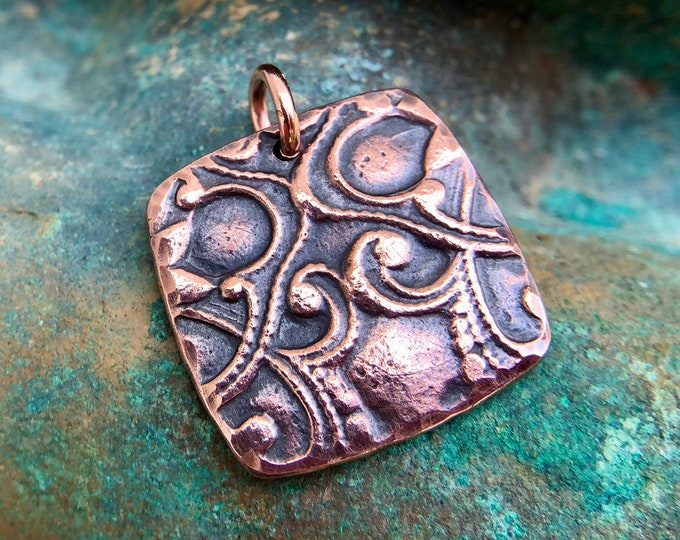 Copper Victorian Pattern Pendant, Puffy Square Shape Pendant