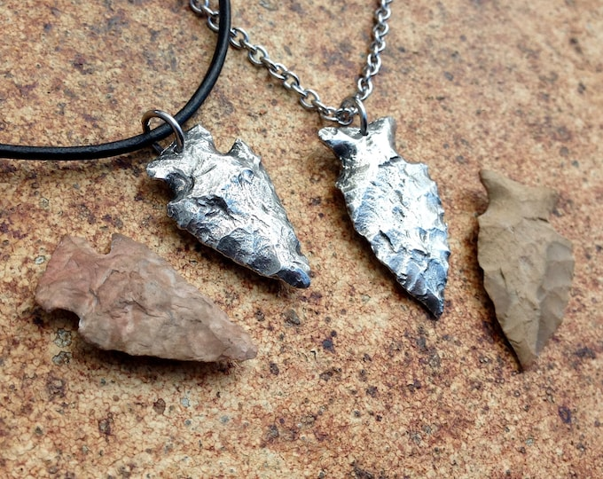 Arrowhead Necklace, Arrowhead Pendant, Hand Cast Pewter